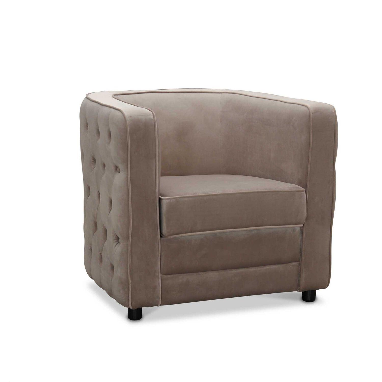 Image of   HAGA Dublin lænestol - lysegrå fløjl stof, m. armlæn