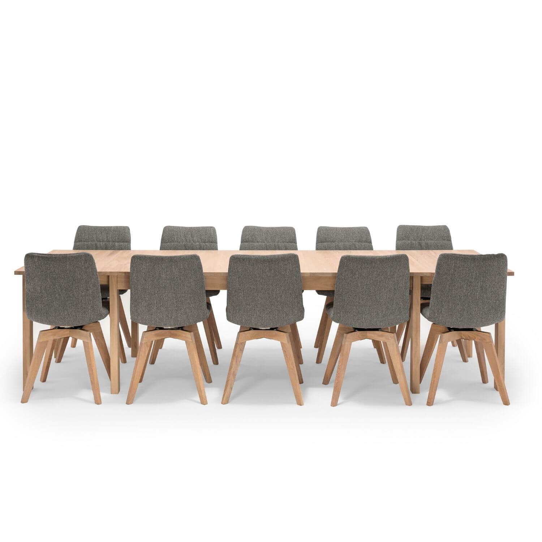 nocnoi Nocnoi egholm spisebord / langbord inkl. 3 tillægsplader - natur egetræ, m. udtræk til 5 m. fra boboonline.dk