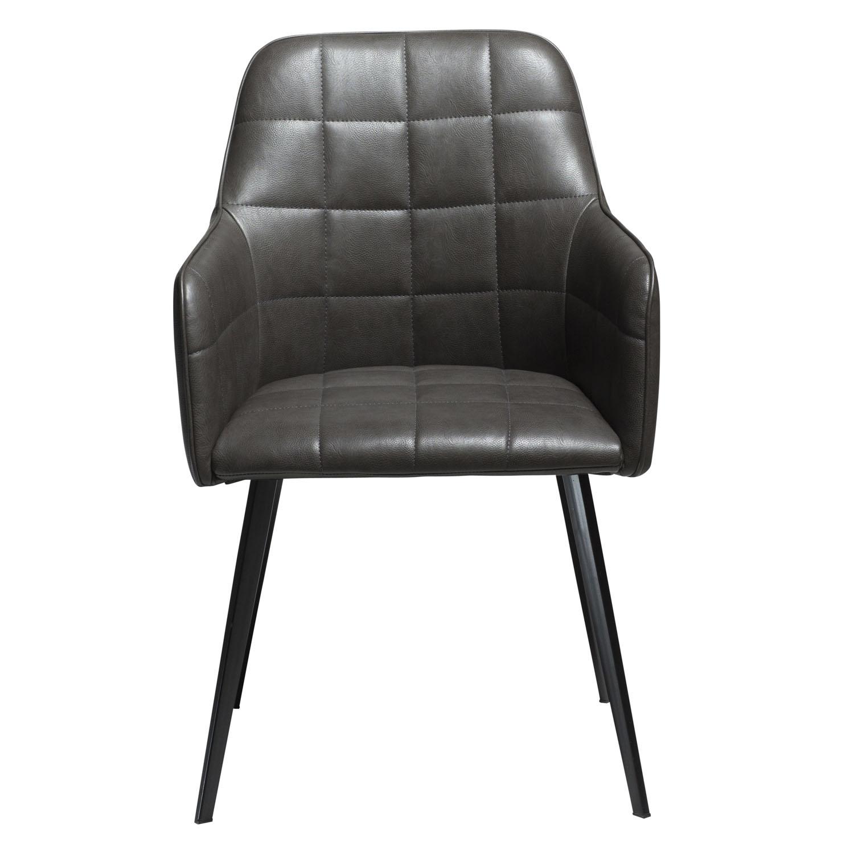 DAN-FORM Embrace lænestol - vintage grå kunstlæder og sort stål