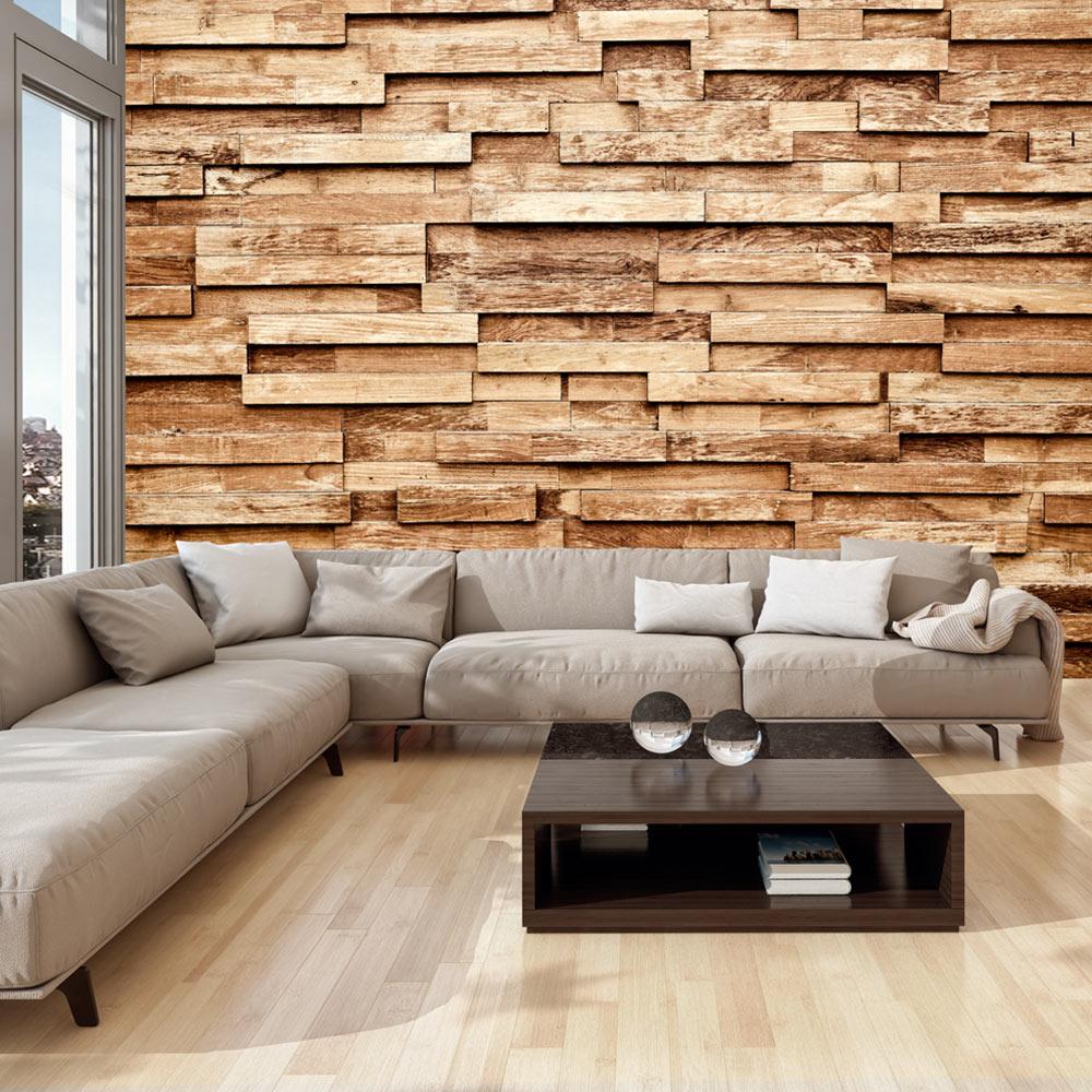 Artgeist Fototapet - Palisade, Vadrette Træplanker (Flere Størrelser) 400X280 Boligtilbehør