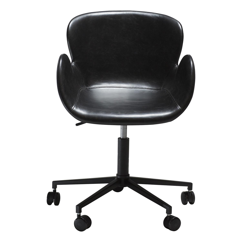 Billede af DAN-FORM Gaia kontorstol, m. armlæn og justerbar højde - vintage sort kunstlæder og sort stål