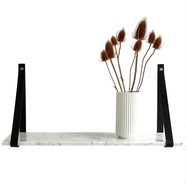 Design by BOBO Harrevig væghylde - grå carrara marmor m. sort læderstrop, 50-100 75x20 cm thumbnail