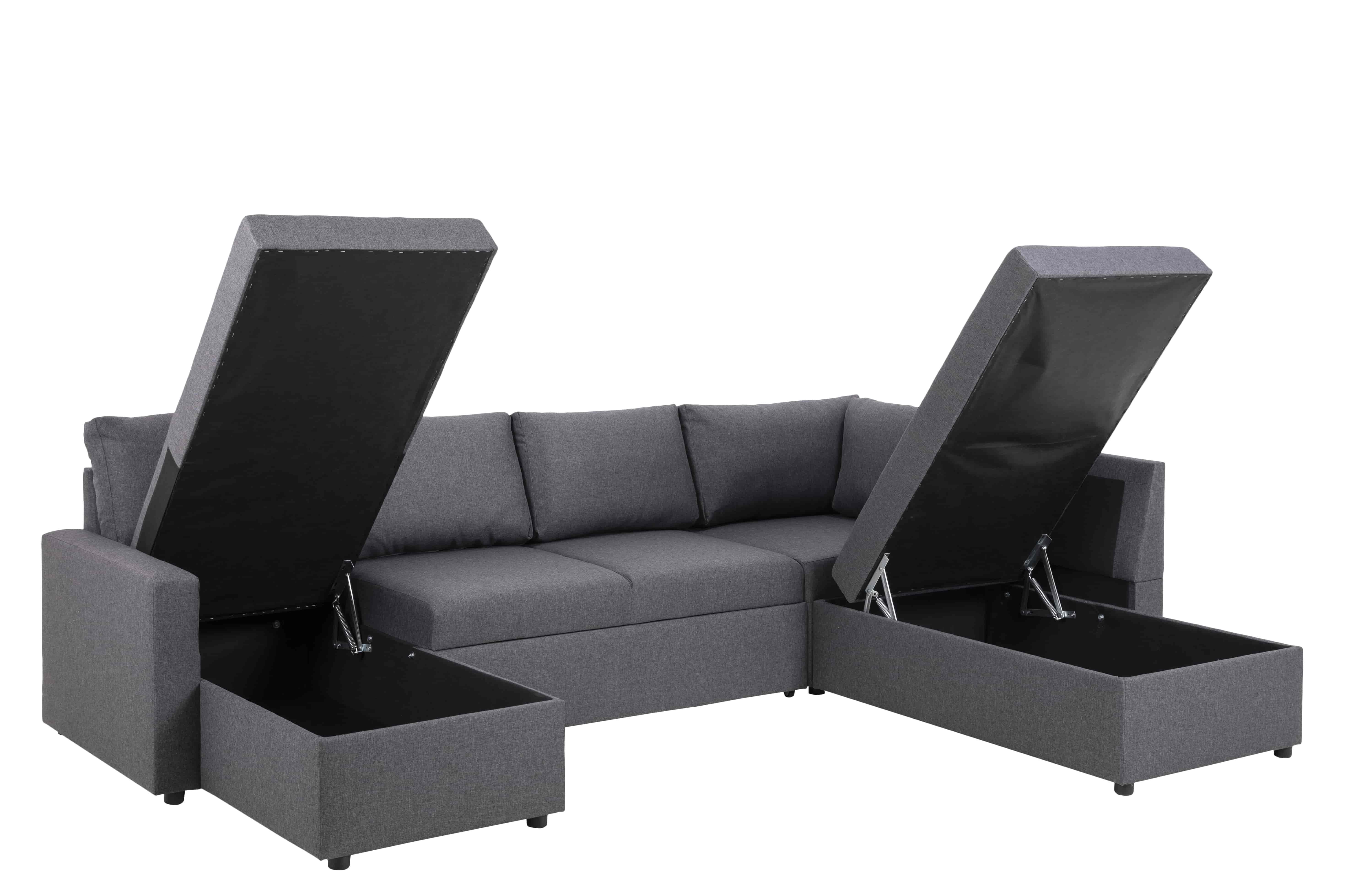 Sacramento hjørnesofa - grå/sort stof/plastik, venstre chaise, højre hvile, m. udtræk og opbevaring