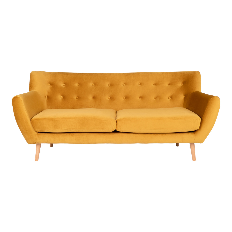 HOUSE NORDIC Monte 3 pers. sofa - sennepsgul velour og natur bøg