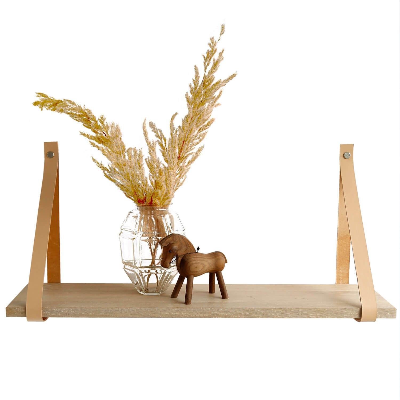 Design by BOBO Harrevig væghylde - hvidolieret egetræ m. natur læderstrop, 50-100 100x20 cm thumbnail
