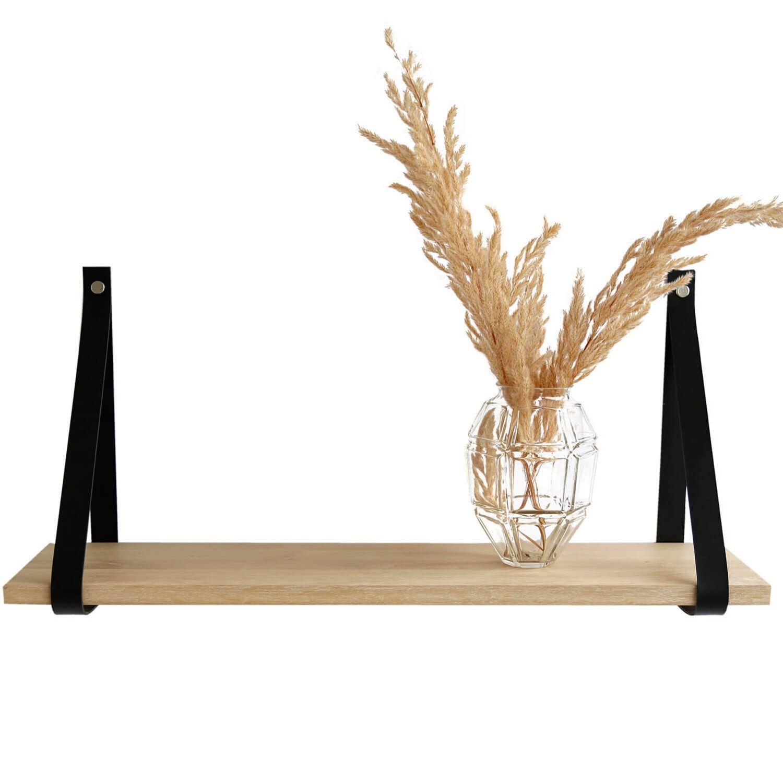 Design by BOBO Harrevig væghylde - hvidolieret egetræ m. sort læderstrop, 50-100 50x20 cm thumbnail