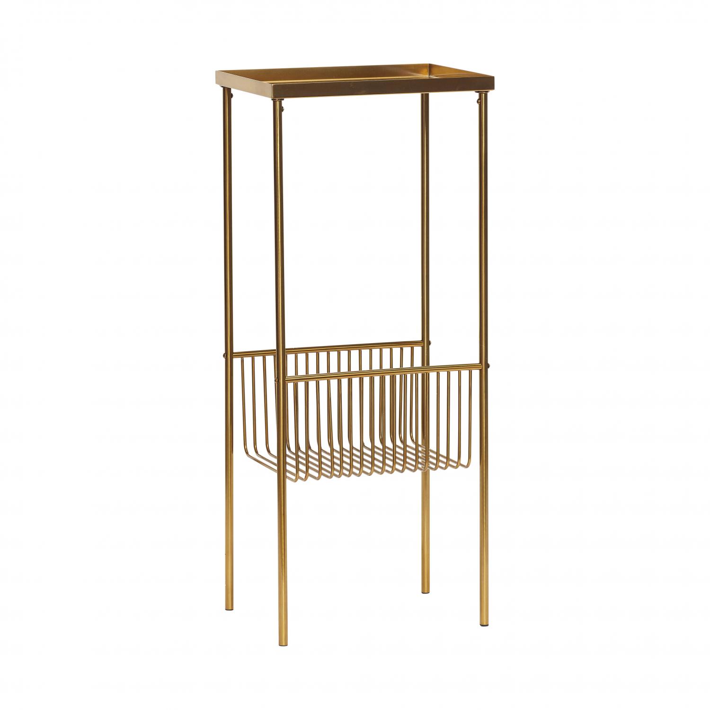 H?bsch konsolbord gulfarvet metal, m. hylde (43x30) fra hübsch fra boboonline.dk