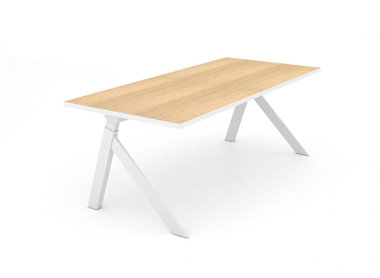 JENSENPLUS K2 skrivebord - træplade og hvidt stel, m. hæve/sænke funktion (140x70)