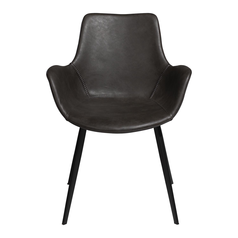 DAN-FORM Hype spisebordsstol, m. armlæn - vintage grå kunstlæder og sort stål