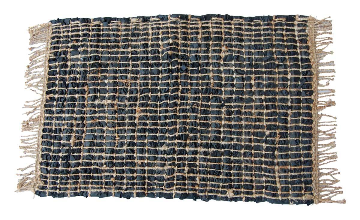 Billede af Trademark Living Lille tæppe i læder med jute - sort