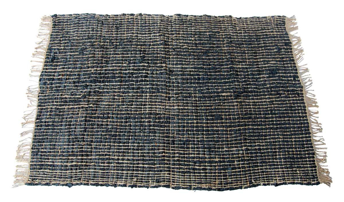 Billede af Trademark Living Stort tæppe i læder med jute - sort
