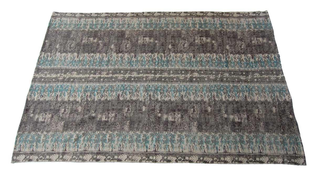 Billede af Trademark Living Tæppe med etnisk mønster - blå/brun