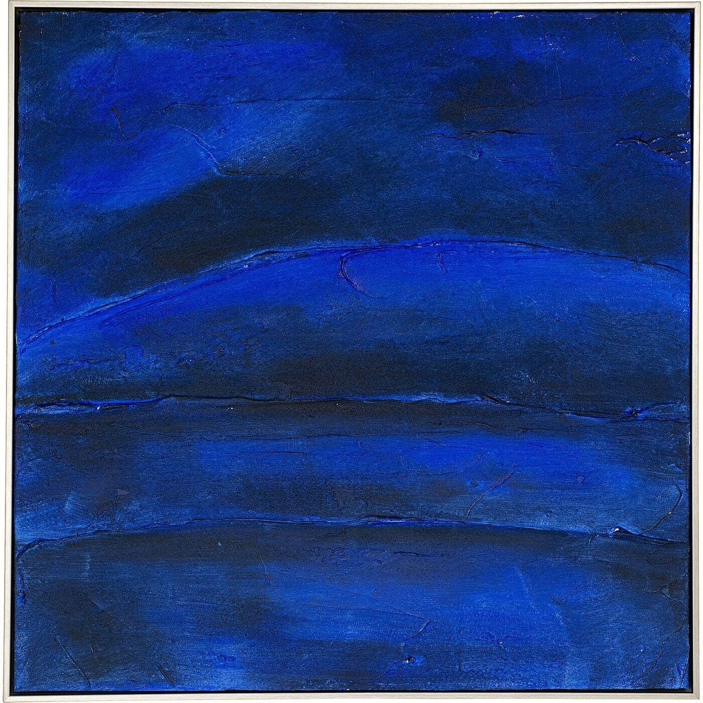kare design – Kare design deep blue abstrakt akryl maleri - blå nuancer m. træramme (80x80) på boboonline.dk