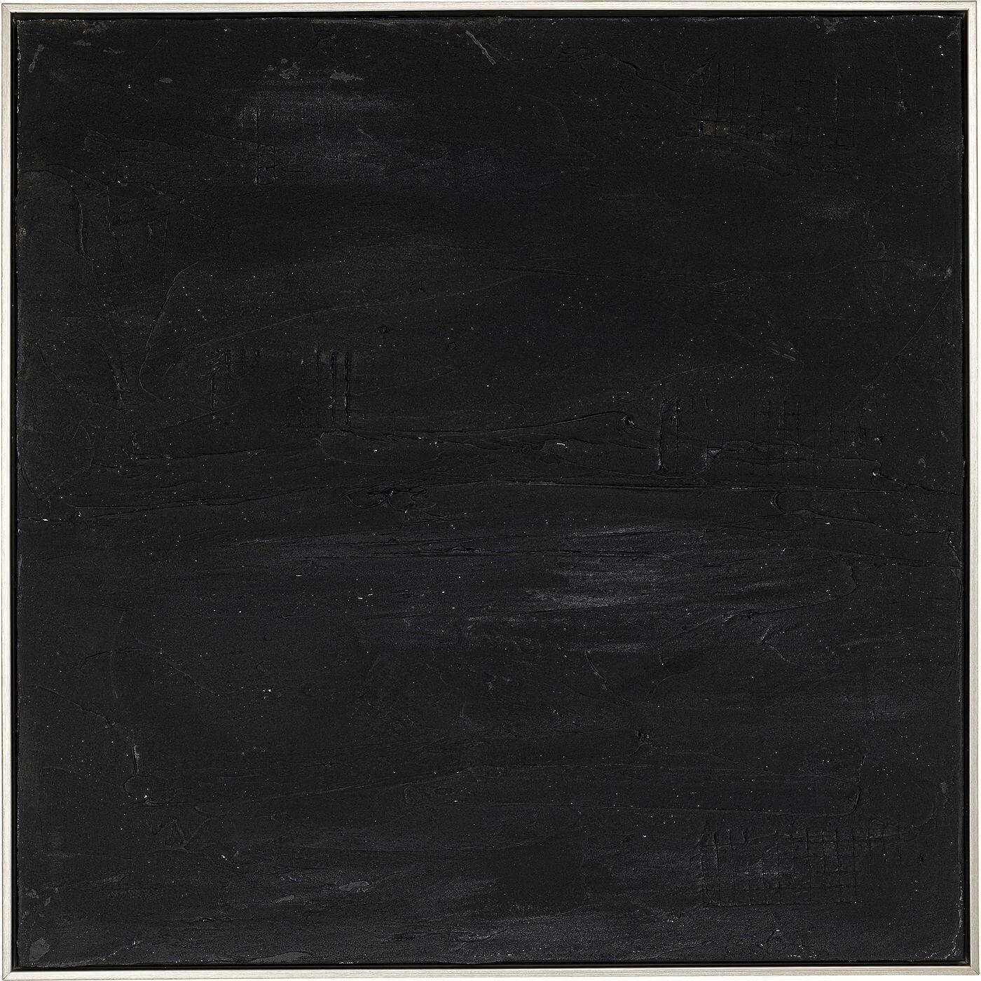 Kare design deep black abstrakt akryl maleri - sorte nuancer, m. træramme (80x80) fra kare design på boboonline.dk