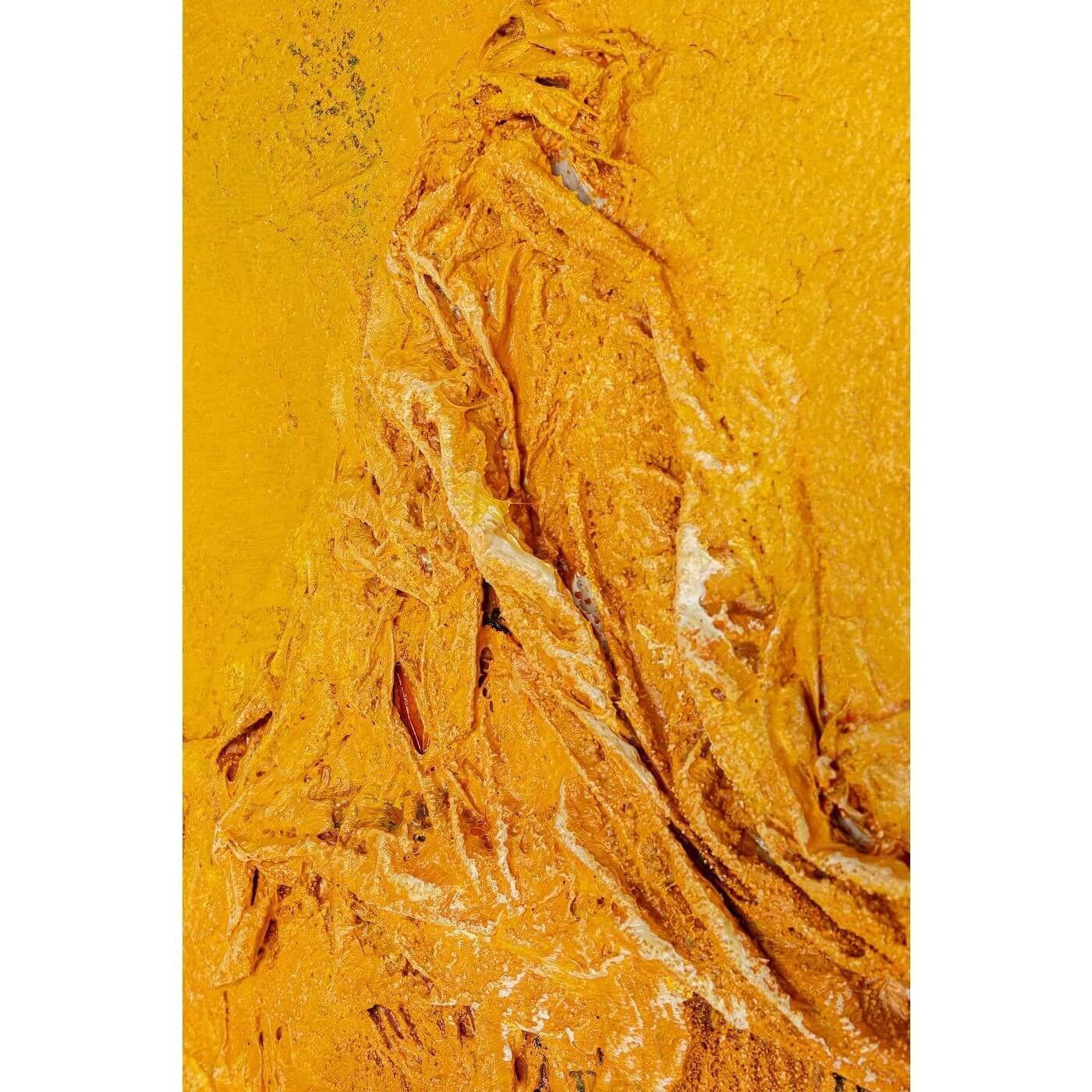kare design Kare design art crater abstrakt akryl maleri - gule nuancer, m. ramme (150x130) fra boboonline.dk