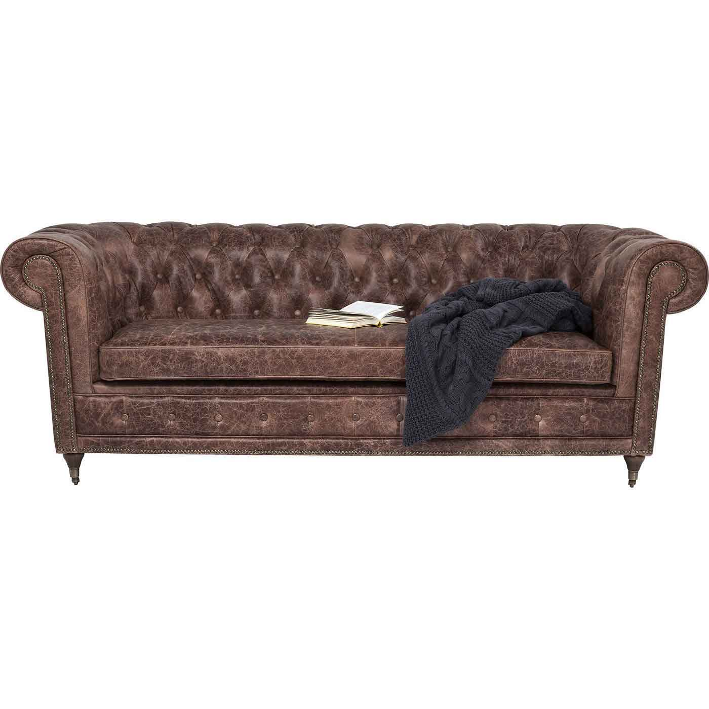 KARE DESIGN Oxford Deluxe 3 pers. chesterfield sofa - brunt naturligt læder
