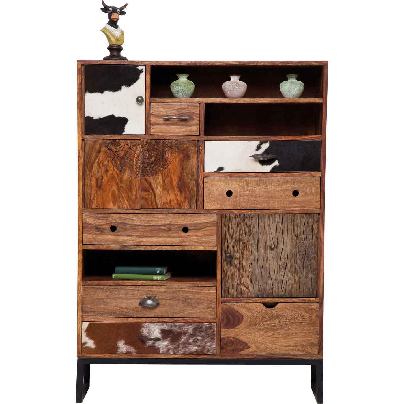 Kare design rodeo kabinet - lakeret træ og koskind, m. 6 skuffer fra kare design på boboonline.dk