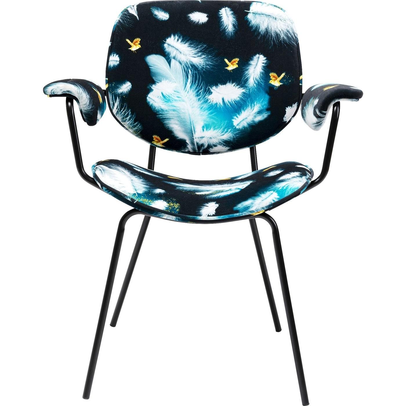 KARE DESIGN Pluto spisebordsstol, m. armlæn - multifarvet fløjl look, m. sort stålstel