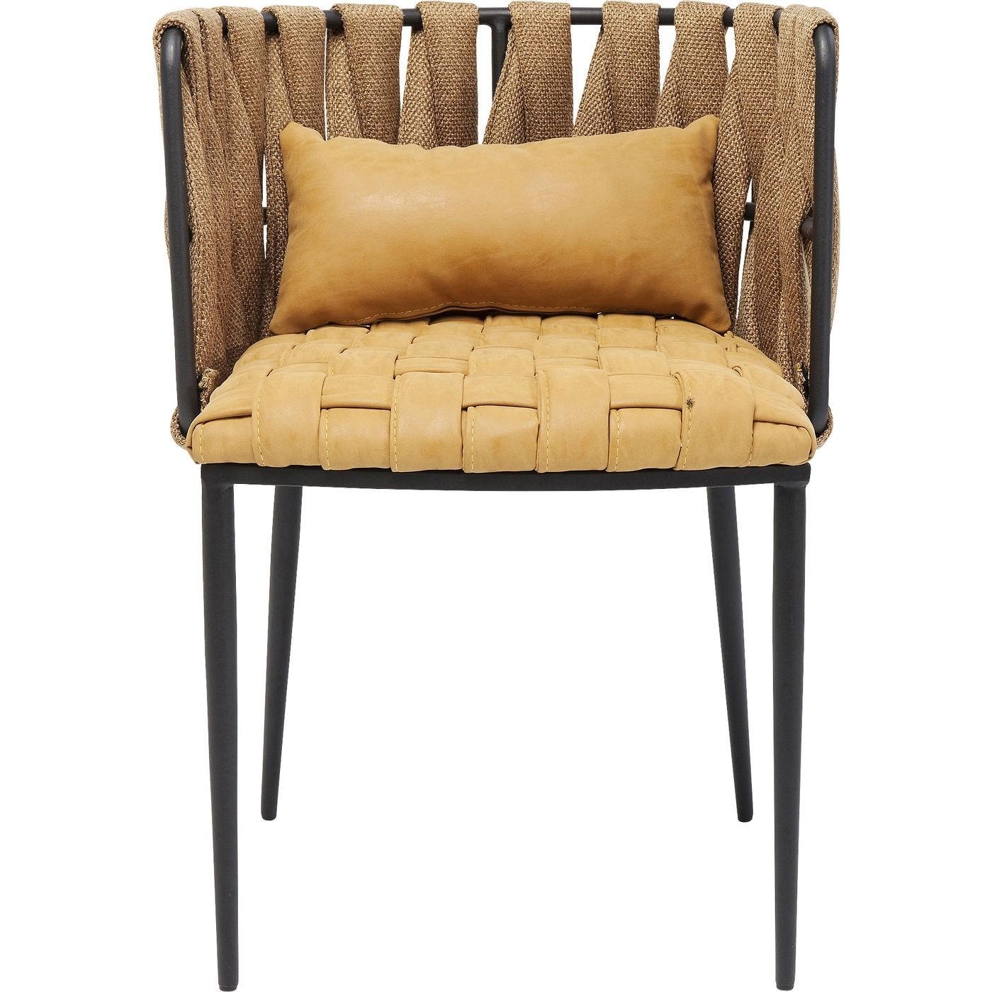 KARE DESIGN Cheerio spisebordsstol med armlæn - gult stof, inkl. pude thumbnail