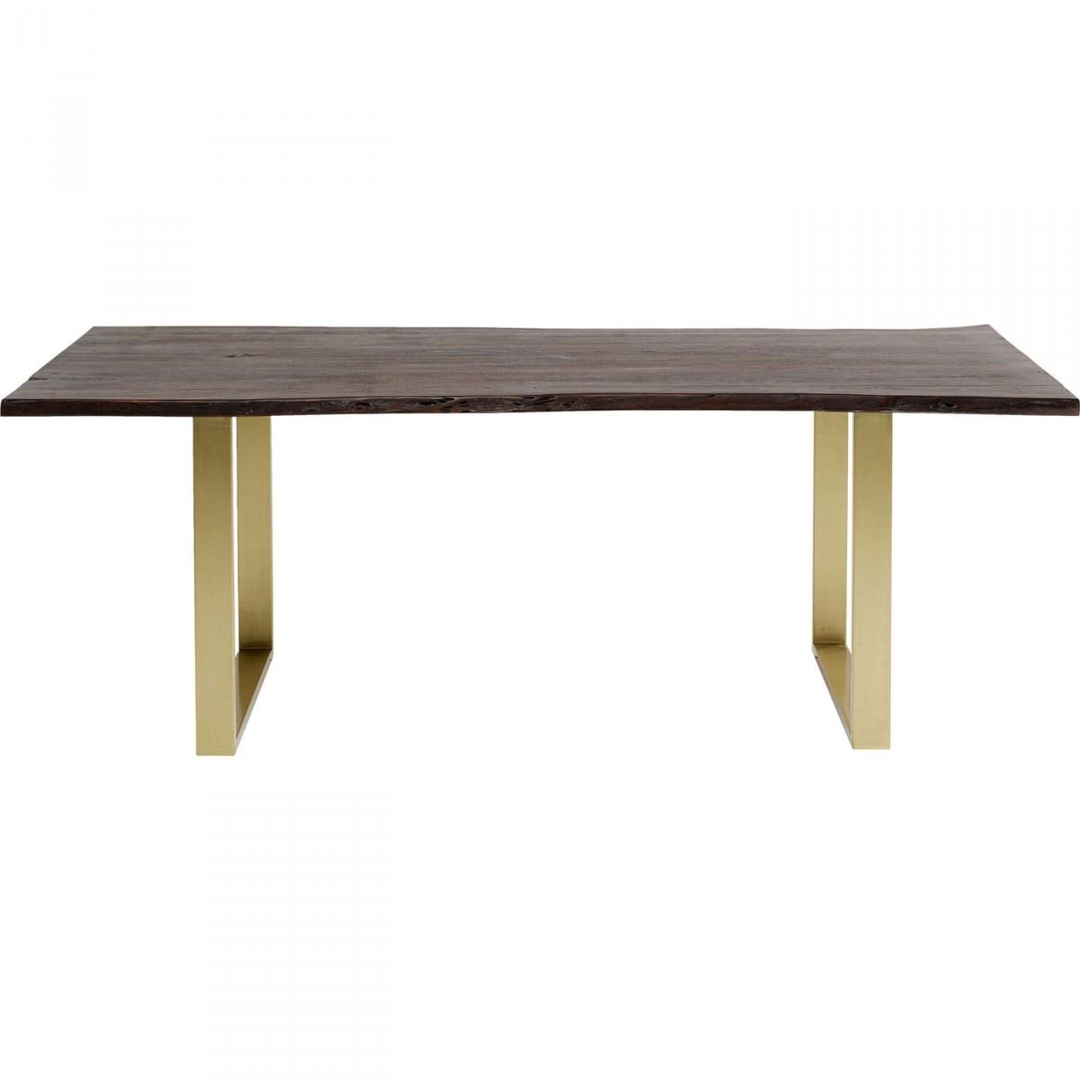 KARE DESIGN rektangulær Harmony Dark Brass spisebord - brun akacietræ og messing stål (160x80)