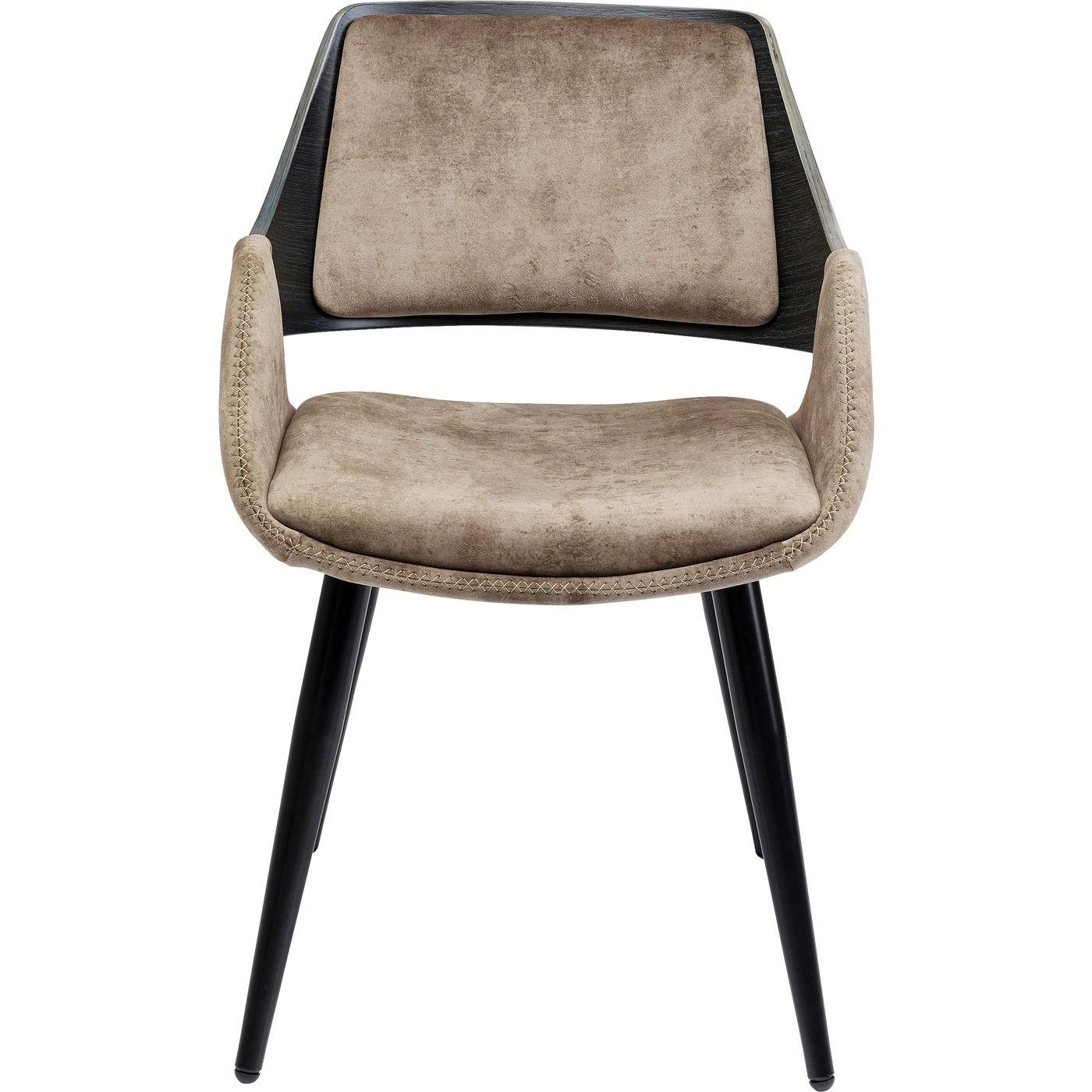 KARE DESIGN Sharona spisebordsstol, m. armlæn - champagnefarvet fløjls look og sort træ og stål