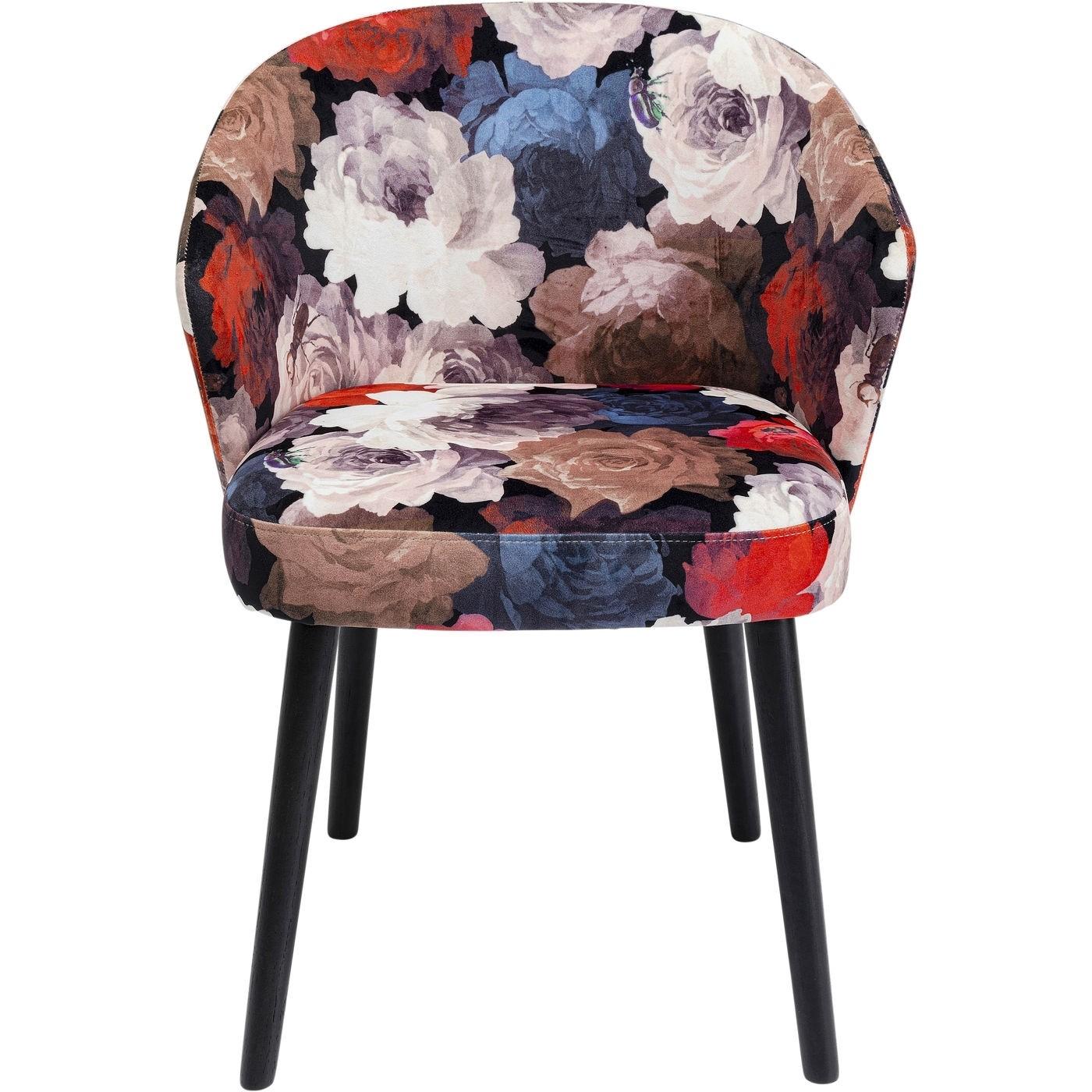 KARE DESIGN Peony spisebordsstol, m. armlæn - multifarvet stof, m. røde blomster og sorte træben