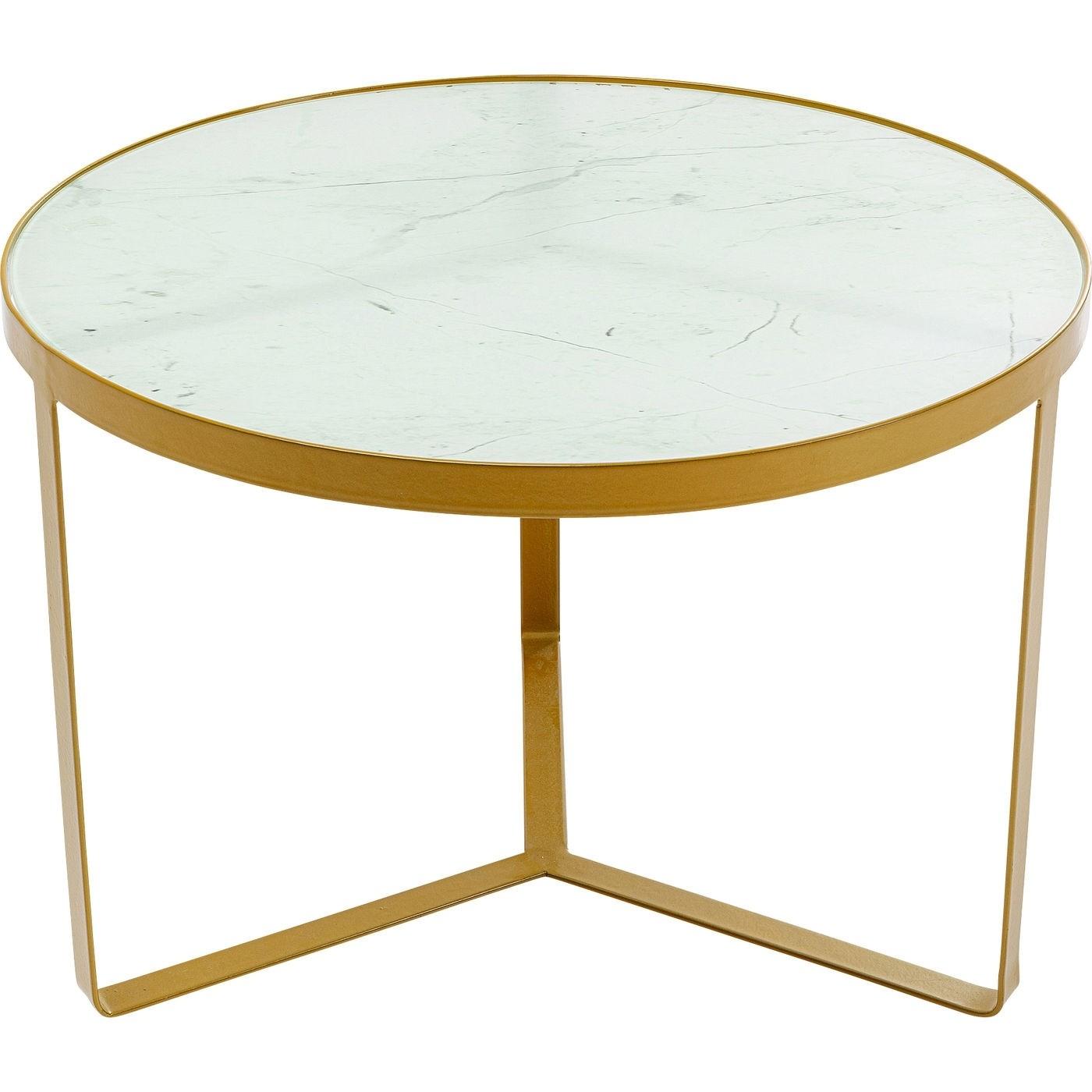 KARE DESIGN Marble rundt sofabord - glas m. marmorlook og guldfarvet stål (Ø 70)