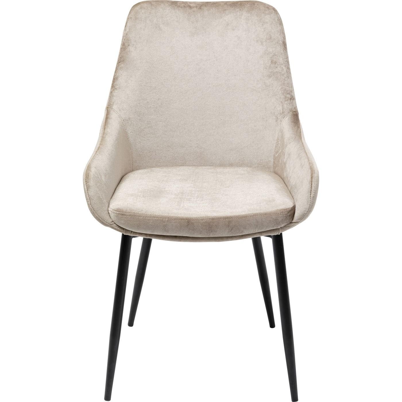 Billede af KARE DESIGN East Side Champagne XL spisebordsstol, m. armlæn - grå velour og stål