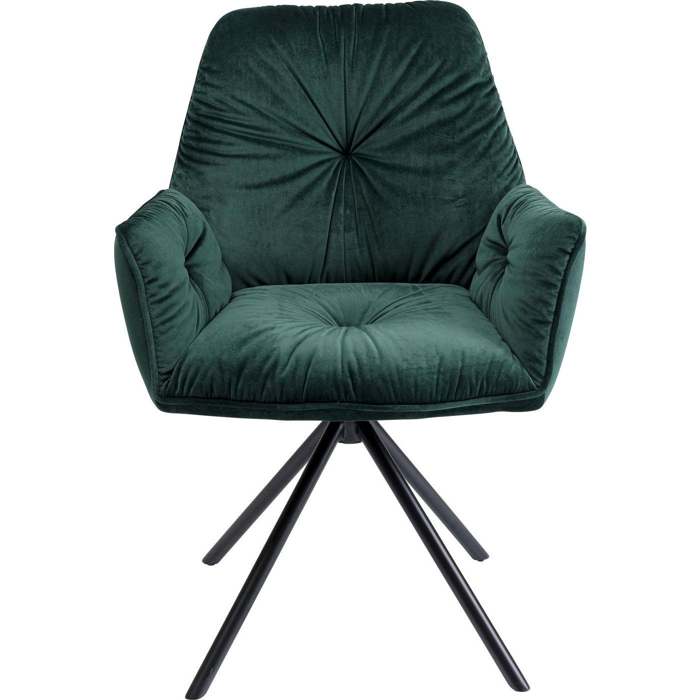 KARE DESIGN Mila spisebordsstol - grøn polyester og stål, m. armlæn