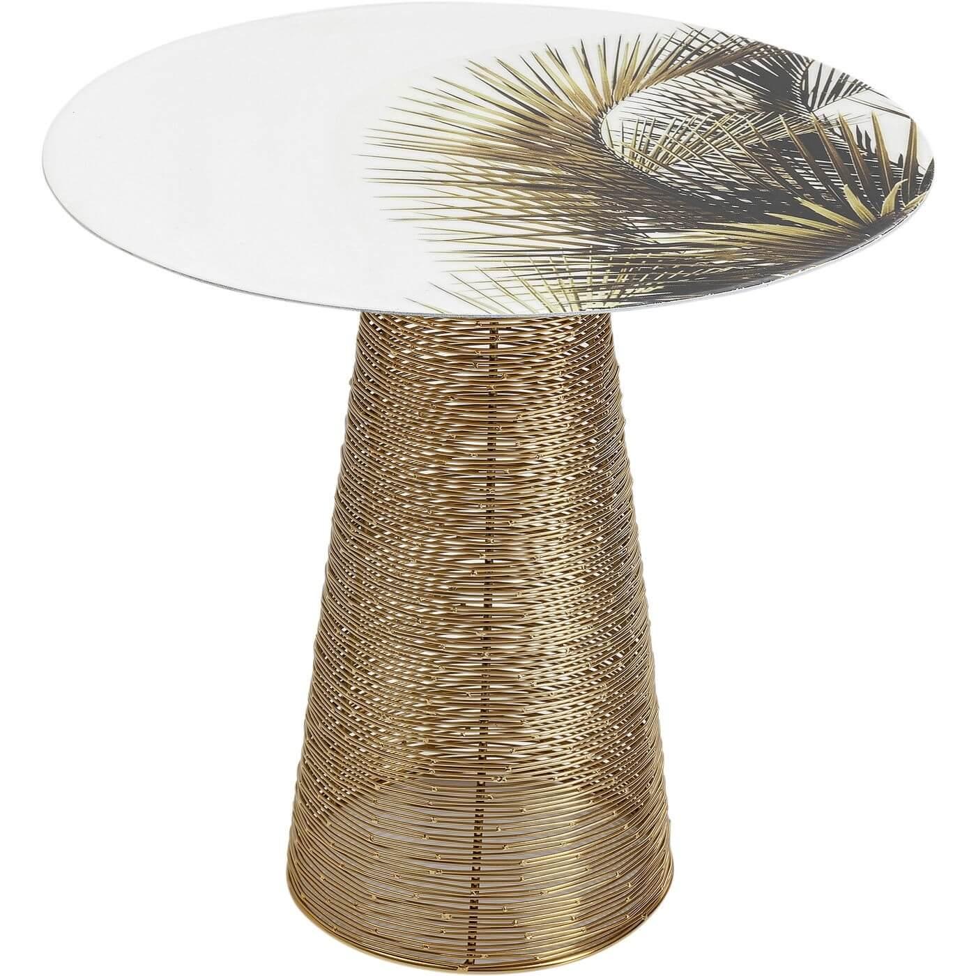 KARE DESIGN rundt Charme Palm sidebord - emaljeret stål m. palmemotiv og messingbelagt stål (Ø 40)