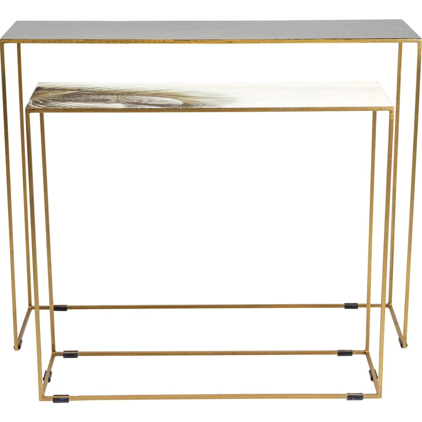 KARE DESIGN rektangulær Charme konsolbord - emalje og messing stål (sæt á 2)