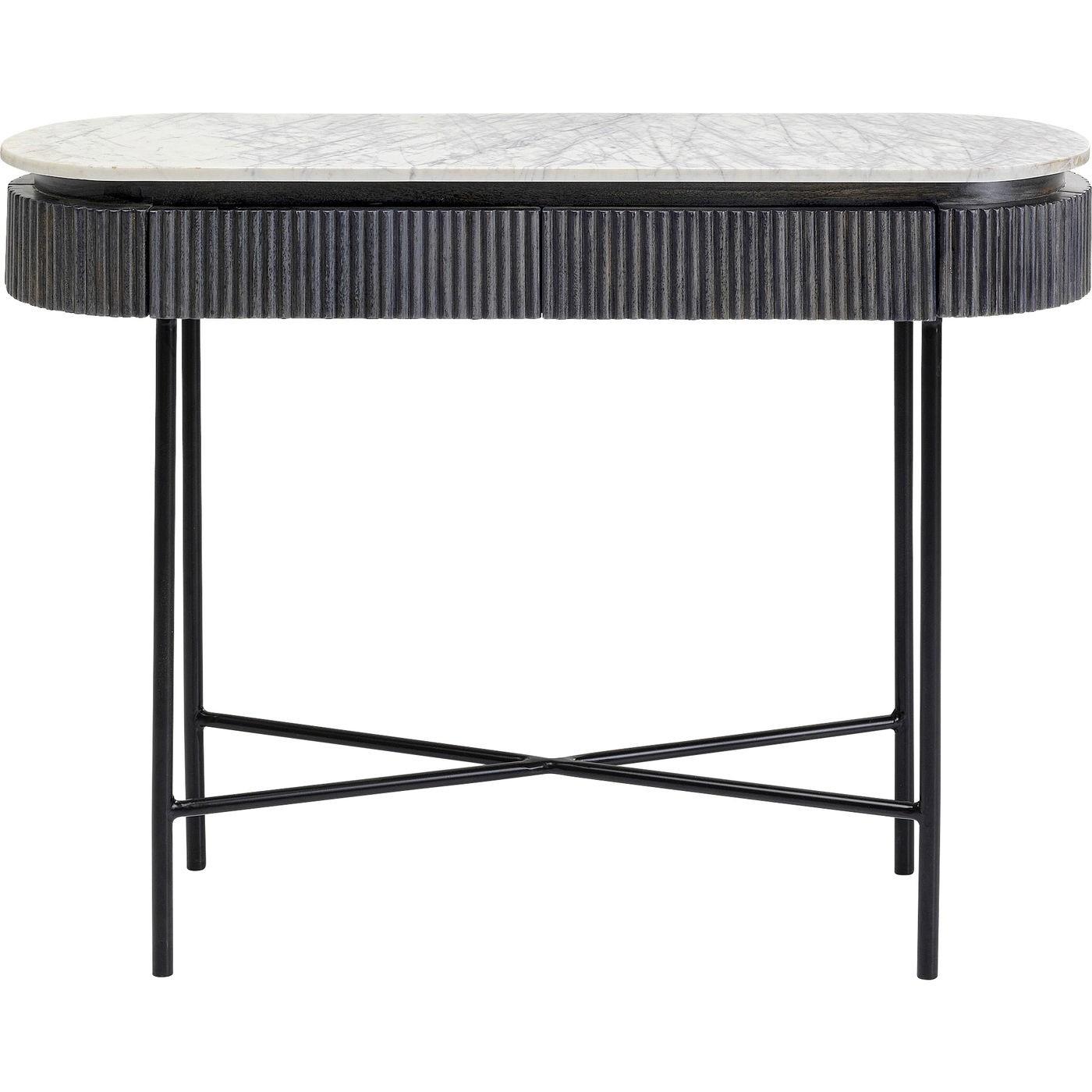 KARE DESIGN oval Glenn konsolbord, m. 2 skuffer - marmor, mangotræ og stål (100x32)