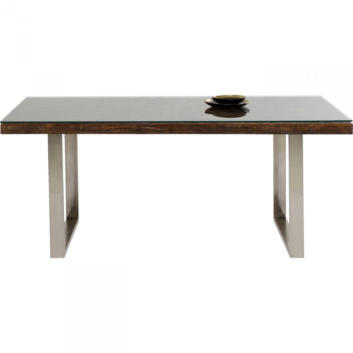 KARE DESIGN rektangulær Conley Chrome spisebord - glas, genbrugstræ, mangotræ og stål (180x90)