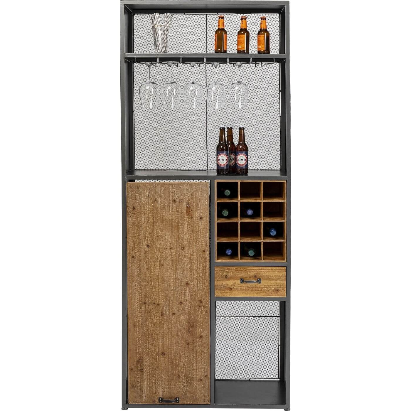 kare design – Kare design vinoteca barreol, m. bord, 3 hylder, skuffe, holder til glas mm. - stål og massivt gran på boboonline.dk
