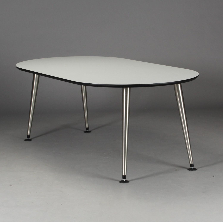 furbo – Furbo spisebord, hvid laminat, satin ben, oval, 100 x 200 cm. på boboonline.dk