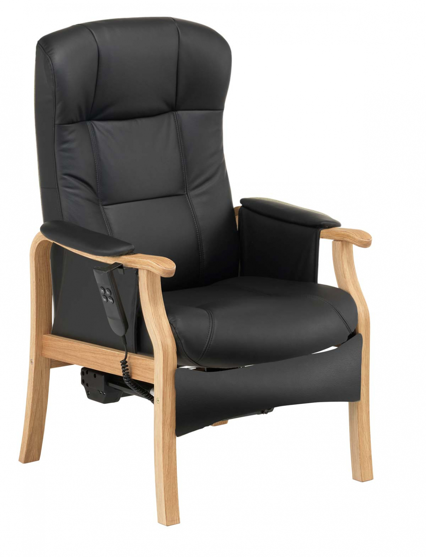 NORDIC-C Sorø medium seniorstol med elektrisk sædeløft og rygmotor, eksl. Skammel - læder