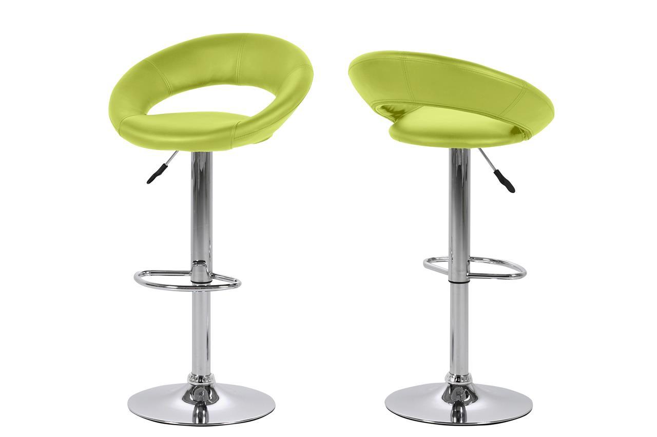 Plump barstol - limefarvet kunstlæder og metal, m. fodstøtte, højdejusterbar