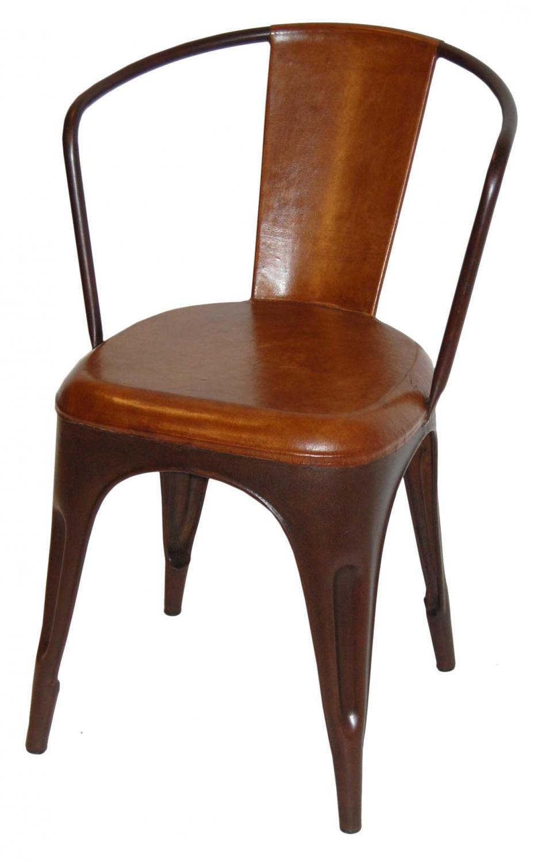 Image of   TRADEMARK LIVING Living Spisebordsstol - læder og antikrust stel