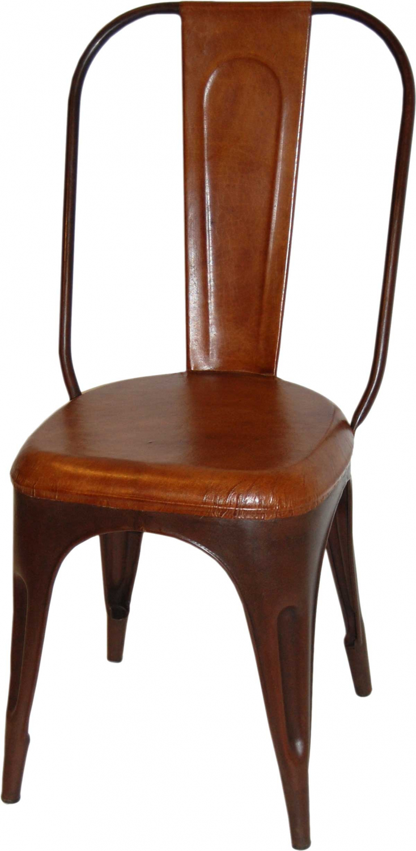 Image of   TRADEMARK LIVING Spisebordsstol - læder og antikrust stel