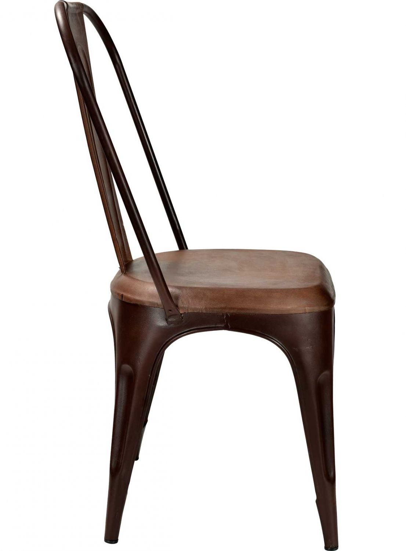 Godt TRADEMARK LIVING spisebordsstol - ægte brunt læder og antikrust LR77