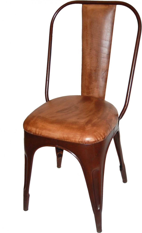 Image of   TRADEMARK LIVING Spisebordsstol - polstret, læder og antikrust stel