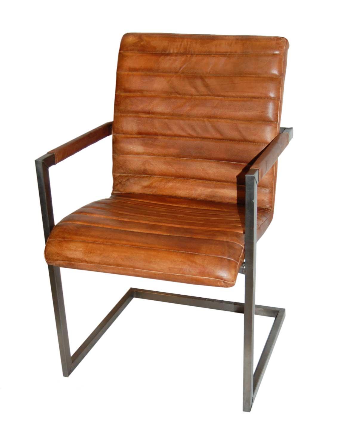 Trademark living cool stol med armlæn - brun læder