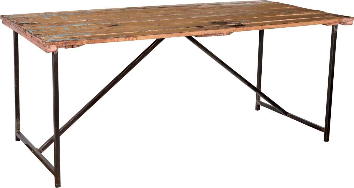 Image of   TRADEMARK LIVING Råt spisebord med gammel træbordplade og nyt jernstel