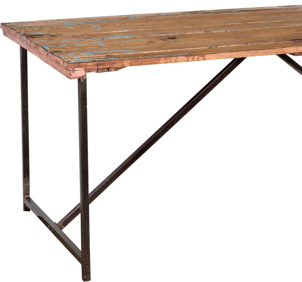 Trademark Living Råt spisebord med gammel træbordplade og nyt ...