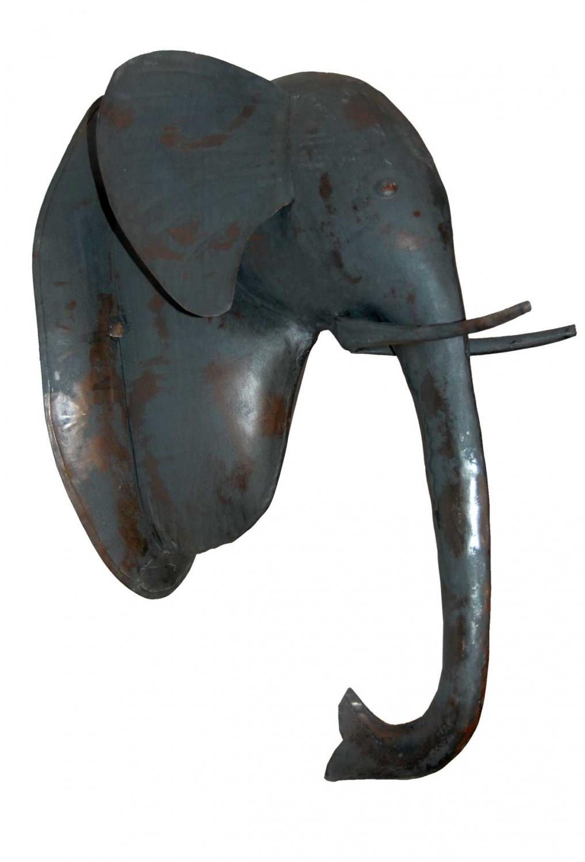 Billede af TRADEMARK LIVING Elefanthoved i metal - mørk zink