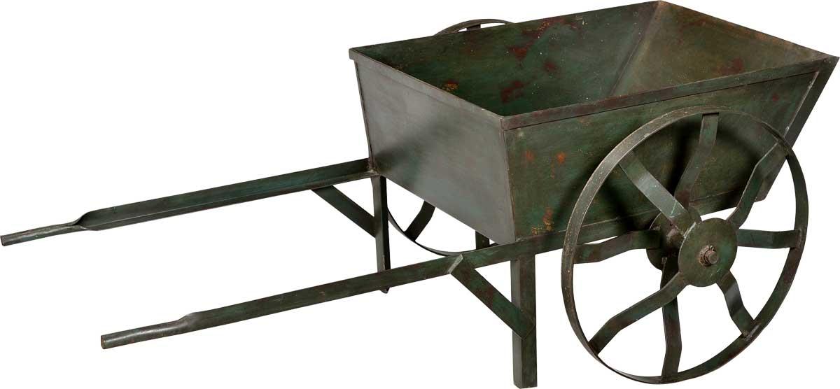 TRADEMARK LIVING Trækvogn i jern - mørkgrøn
