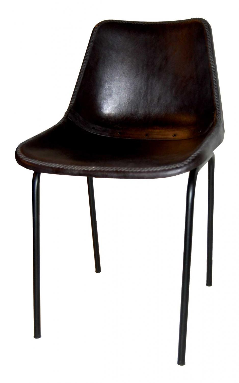 Billede af TRADEMARK LIVING - spisebordsstol m. læder, sort