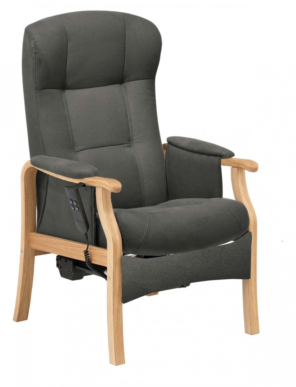 NORDIC-C Sorø medium seniorstol med elektrisk sædeløft og rygmotor, eksl. skammel - antracitgrå