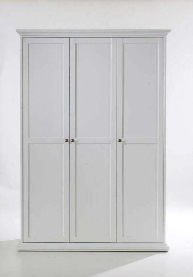 Paris garderobeskab 3 låger + bøjlestang - hvid