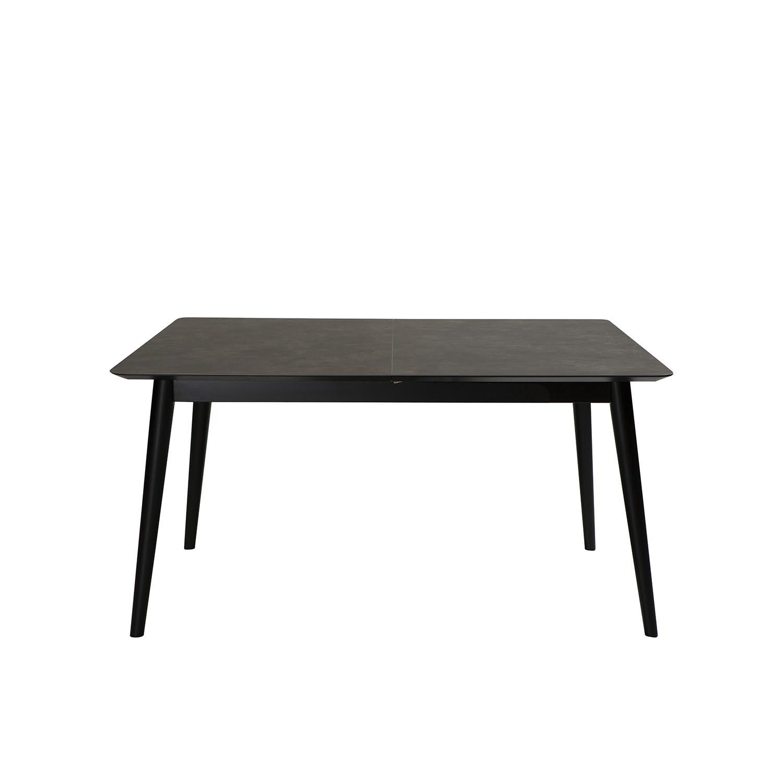 DAN-FORM Passo spisebord, m. udtræk - grå keramik og sort træ (150x95)